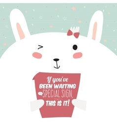 Greeting card with funny bunny and motivational vector