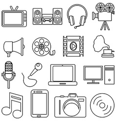 Entertainment line icons set vector