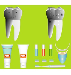 Healthy and unhealthy tooth vector
