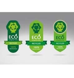 Green recycle label banners vector