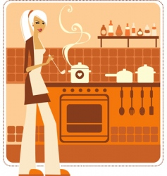 Woman cooking vector