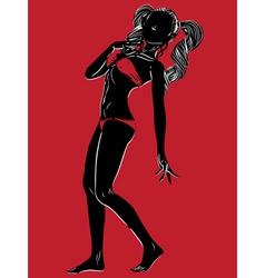 Bikini silhouette on red background vector