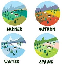 Farm rural landscape in four seasons vector