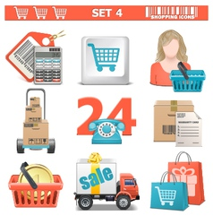 Shopping icons set 4 vector
