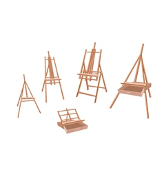 Set of wooden easel on white background vector
