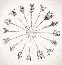 Sepia hand-drawn arrows vector