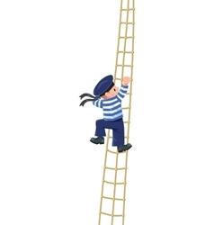 Boy-sailor climbing the shrouds vector