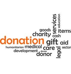 Word cloud donation vector