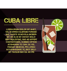 Cuba libre cocktail with text description modern vector