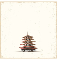 Japanese pagoda on grunge background vector