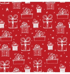 Seamless pattern with handdrawn gift boxes vector