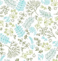 Seamless pattern with floral elements on a white b vector