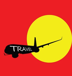 Airplane with travel color vector
