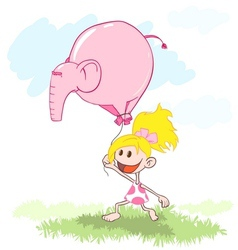 Girl with a pink elephant balloon vector