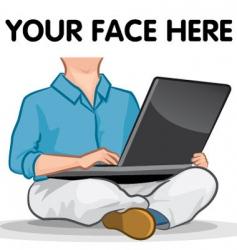 Laptop man vector