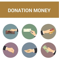 Colorful icons donations of money vector