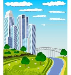 Modern metropolis skyline vector