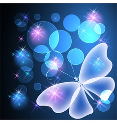 Transparent butterfly and stars vector