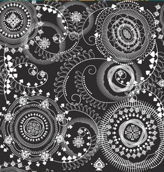 Floral design seamless black and white vector