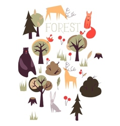 Set of animals and trees vector