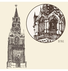 Moscow kremlin red square engraved vector