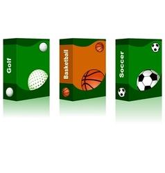 Sport box - golf basketball soccer ball vector