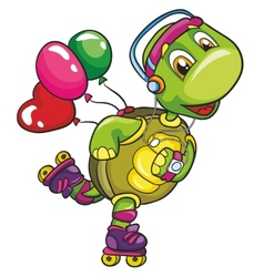 Funny turtle on roller skates on a white vector