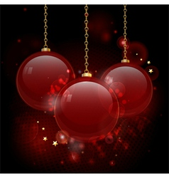 Christmas red glass baubles vector