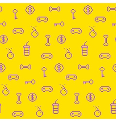 Seamless oldschool gaming inspired pattern vector