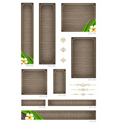 Wooden backgrounds with tropical flowers vector