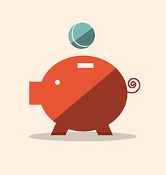 Pig bank flat design icon vector