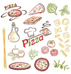 Pizza pasta set vector