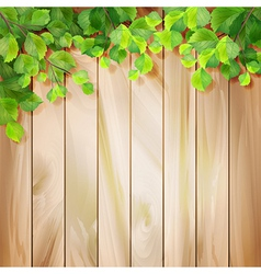 Green leaves on a wood texture background vector