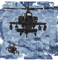 Army grunge background with helicopter vector