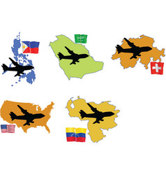 Fly me to the philippines saudi arabia switzerland vector