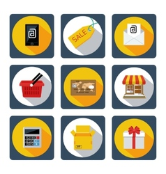 Icon set for mobile shopping marketing banking vector