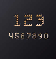 Retro geometric triangle font numbers vector