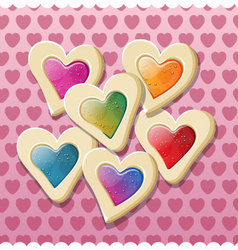Heart shaped cookies for valentine day vector