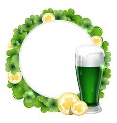 Green beer and gold coins vector