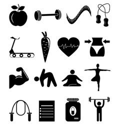 Health fitness icons set vector