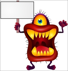 Monster with blank sign vector