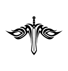 Sword tattoo with flowing wings vector