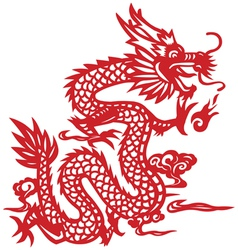 Traditional chinese dragon paper-cut art vector