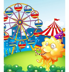 An amusement park at the hilltop with an orange vector