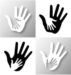 Set of caring hands vector