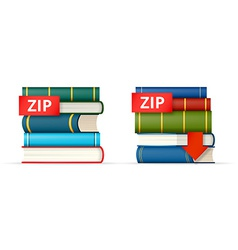 Zip books stacks icons vector