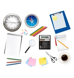 Calculator and office supplies vector