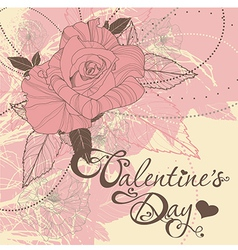 Valentines day card with rose vector
