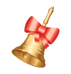 Golden school bell with red bow vector