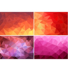 Red orange pink low poly backgrounds set vector
